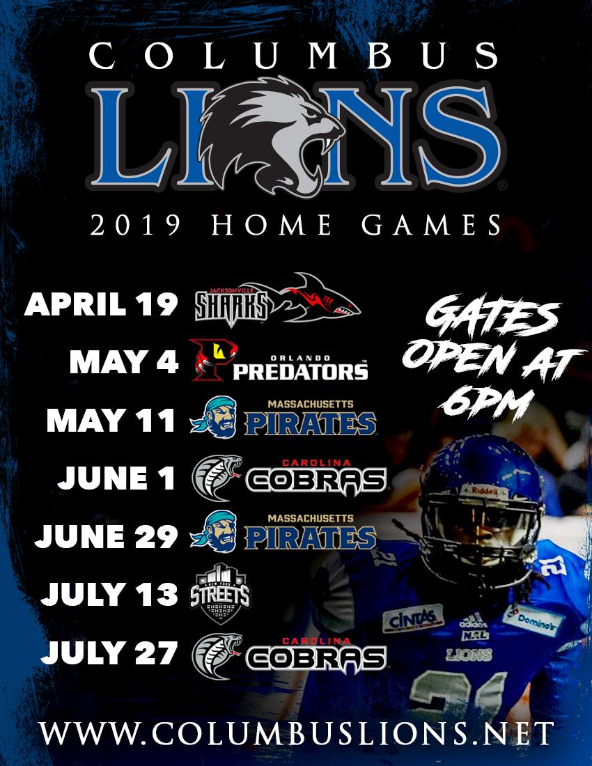 Arena Football Schedule 2019 Columbus Lions: 2019 Schedule