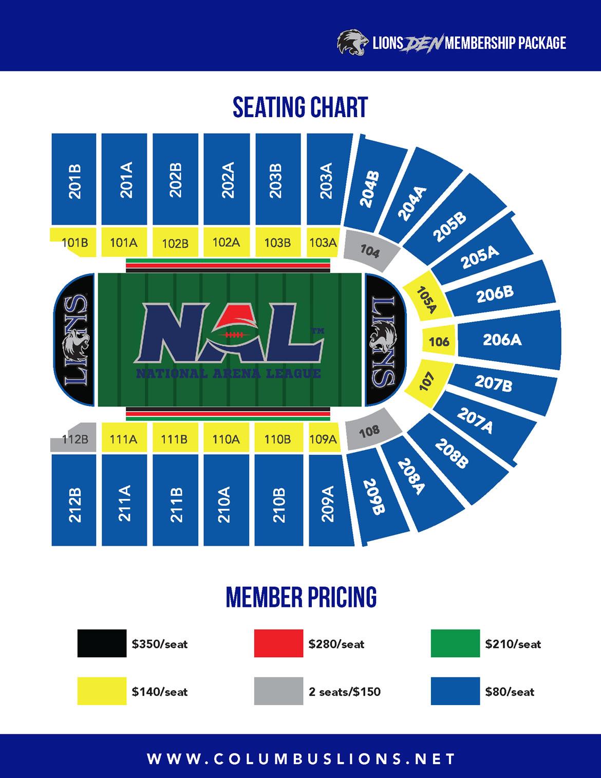 Columbus Lions Seating Chart